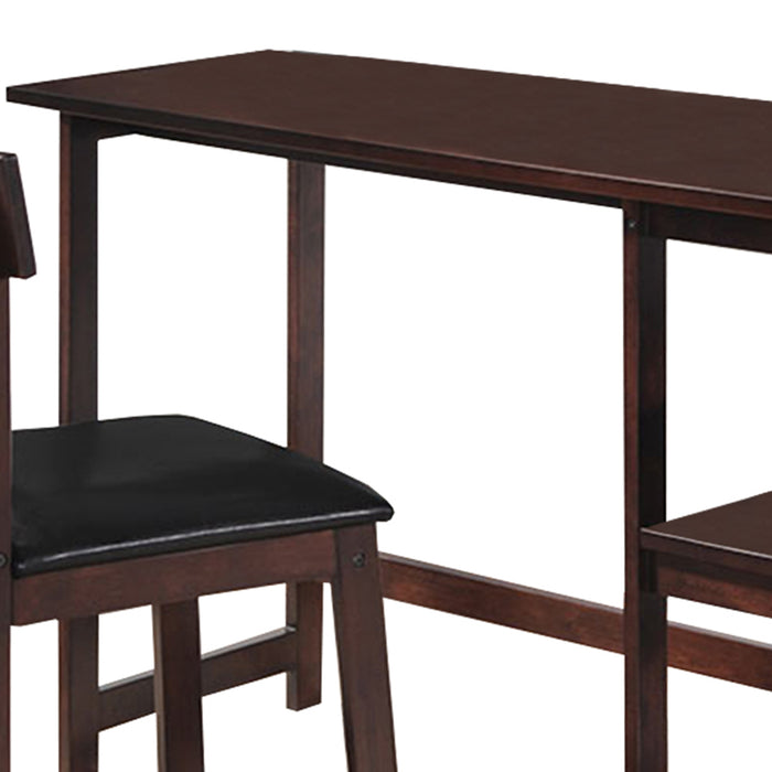"HomeRoots Office 19"" X 47"" X 39"" 2Pc Black Pu And Espresso Pack Desk And Chair"