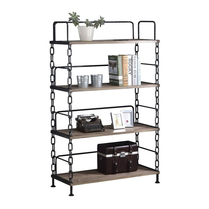 "HomeRoots Office 48"" X 24"" X 59"" Rustic Oak And Antique Black Particle Board Bookshelf"