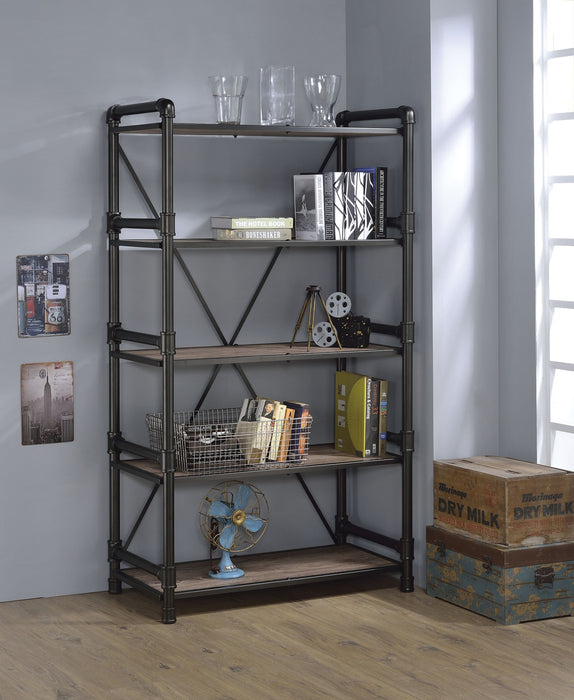 "HomeRoots Office 40"" X 22"" X 72"" Rustic Oak And Black Particle Board Bookshelf"