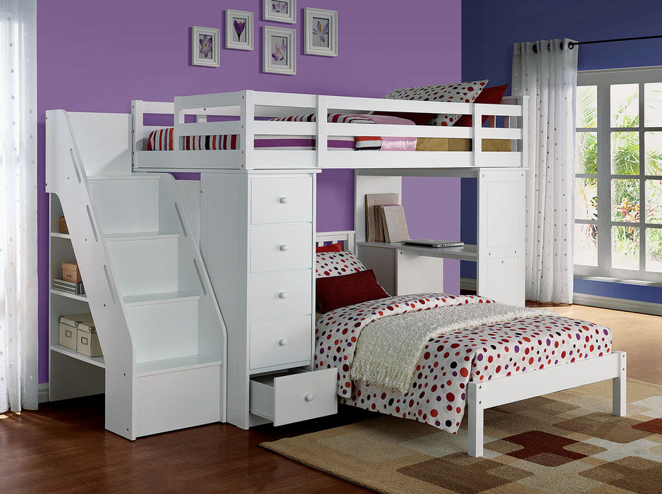 "HomeRoots Office 79"" X 42"" X 66"" White Solid Wood Loft Bed And Bookshelf Ladder"