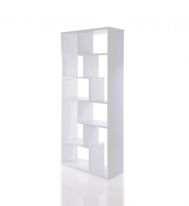 "HomeRoots Office 32"" X 12"" X 71"" White Veneer Cube Bookcase"