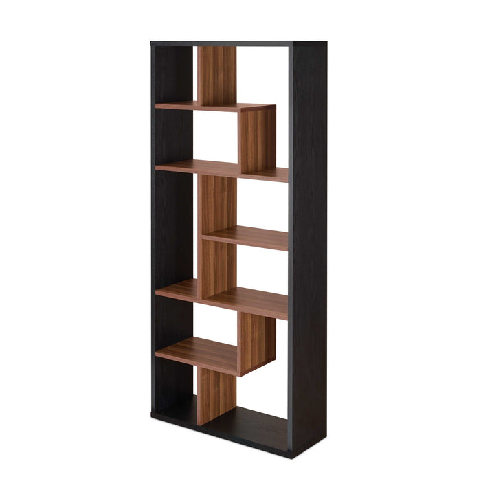 "HomeRoots Office 32"" X 12"" X 71"" Black And Walnut Veneer Cube Bookcase"