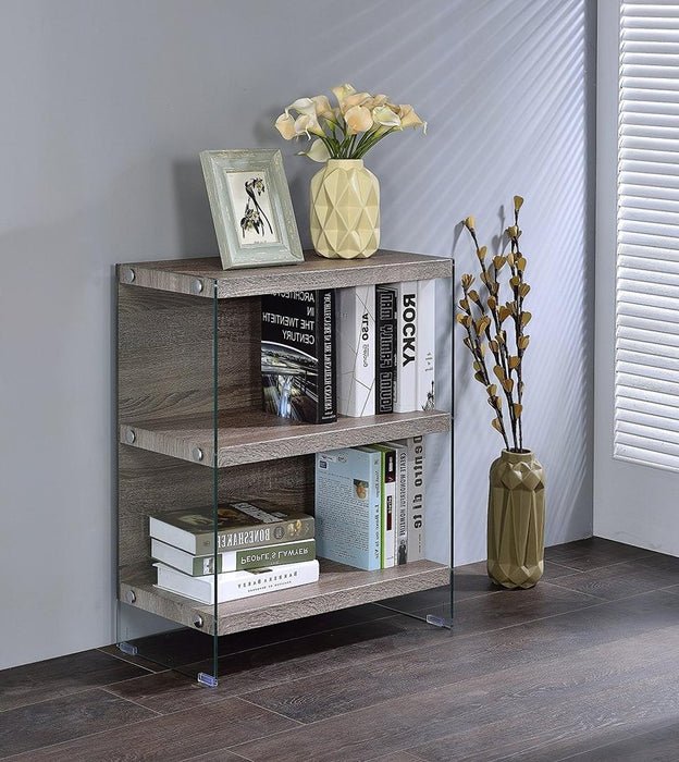 "HomeRoots Office 24"" X 12"" X 30"" Clear Glass And Gray Oak  Bookcase"