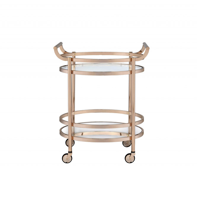 "HomeRoots Office 27"" X 19"" X 34"" Clear Glass And Rose Gold Serving Cart"