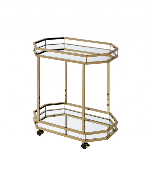 "HomeRoots Office 27'.6"" X 16'.6"" X 31'.5"" Mirror And Champagne Serving Cart"