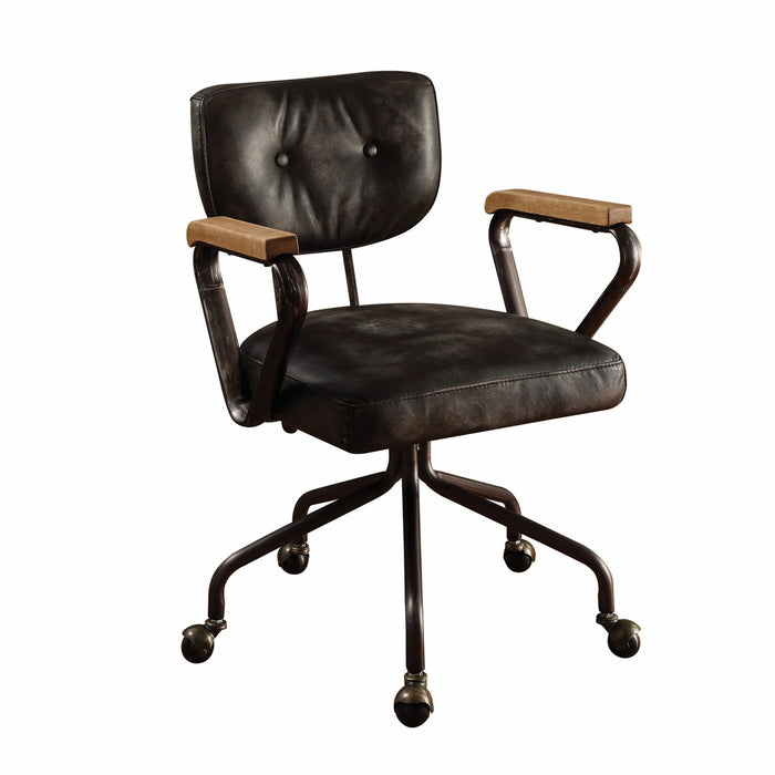 "HomeRoots Office 24"" X 25"" X 32"" Vintage Black Top Grain Leather Office Chair"
