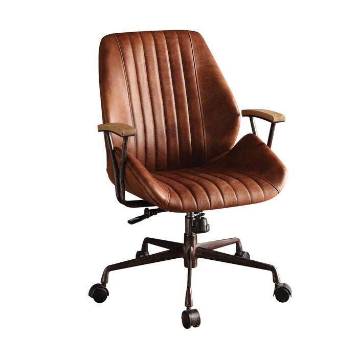 "HomeRoots Office 24"" X 28"" X 37-40"" Cocoa Top Grain Leather Office Chair"