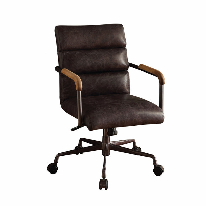 "HomeRoots Office 22"" X 26"" X 35-38"" Antique Ebony Top Grain Leather Office Chair"