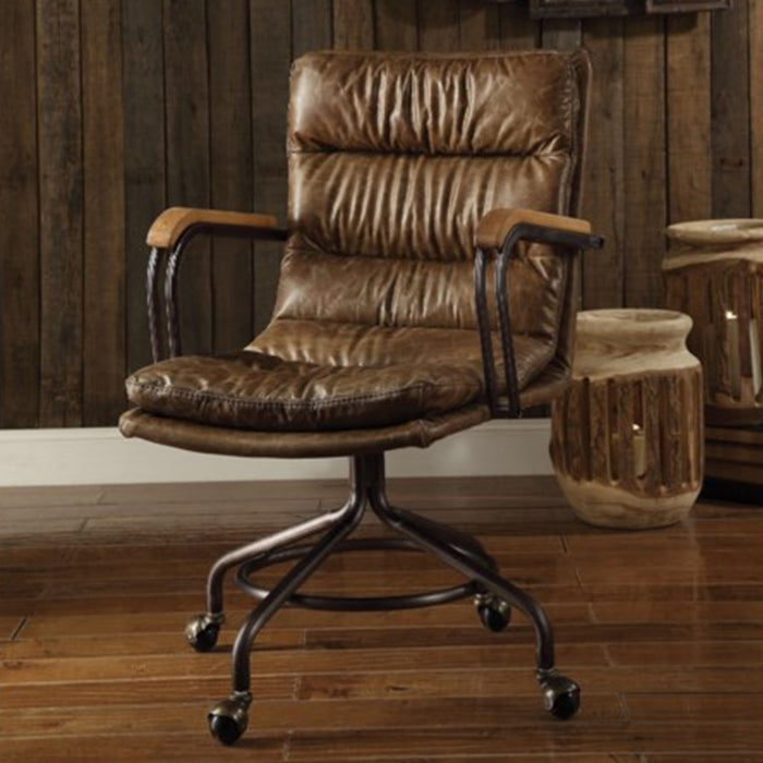"HomeRoots Office 22"" X 26"" X 36"" Vintage Whiskey Top Grain Leather Office Chair"