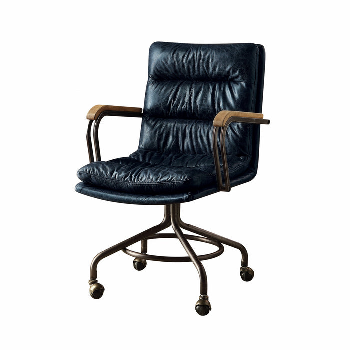 "HomeRoots Office 22"" X 26"" X 36"" Vintage Blue Top Grain Leather Office Chair"