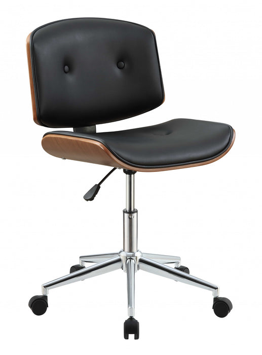"HomeRoots Office 20"" X 22"" X 31"" Black And Walnut Office Chair"