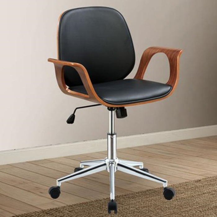 "HomeRoots Office 26"" X 22"" X 34"" Black And Walnut Office Chair"
