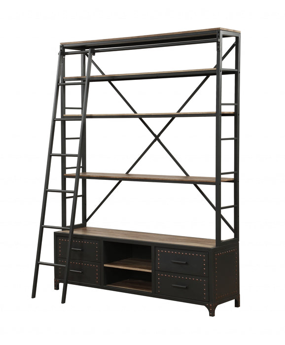 "HomeRoots Office 64"" X 29"" X 83"" Sandy Gray Metal Tube Bookcase With Ladder"