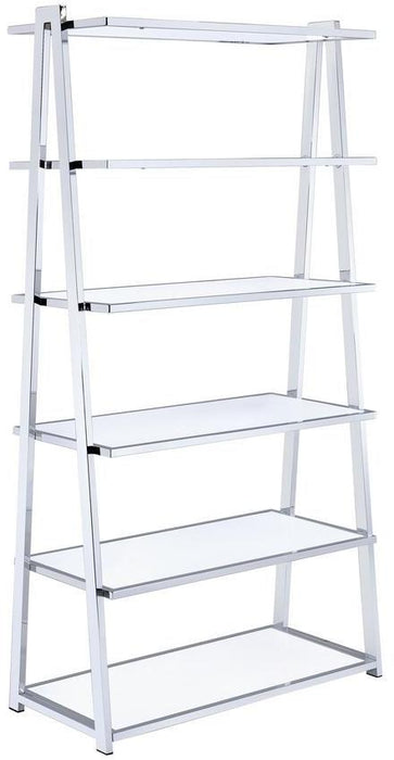 "HomeRoots Office 36"" X 16"" X 71"" White High Gloss And Chrome Bookcase"