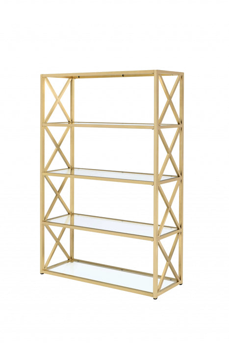 "HomeRoots Office 48"" X 14"" X 77"" Clear Glass And Gold Bookcase"