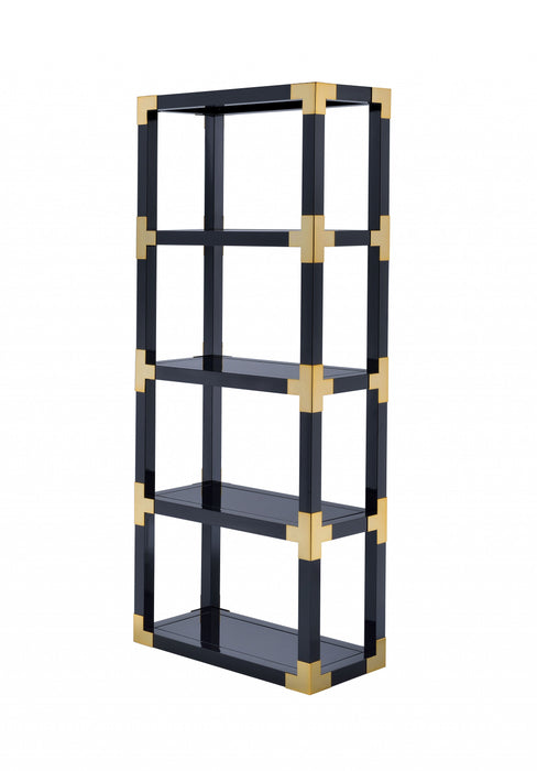 "HomeRoots Office 32"" X 15"" X 77"" Gold, Black High Gloss And Black Mirror Bookcase"