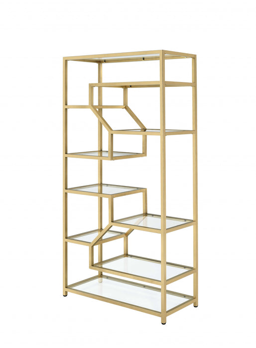 "HomeRoots Office 38"" X 16"" X 71"" Clear Glass And Gold Bookcase"