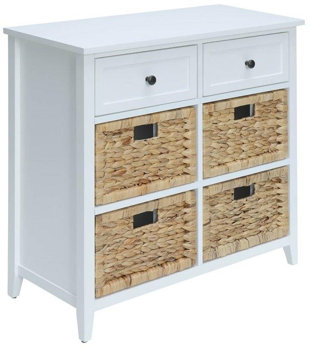 "HomeRoots Office 30"" X 13"" X 28"" White Wood Veneer 6 Drawers Accent Chest"