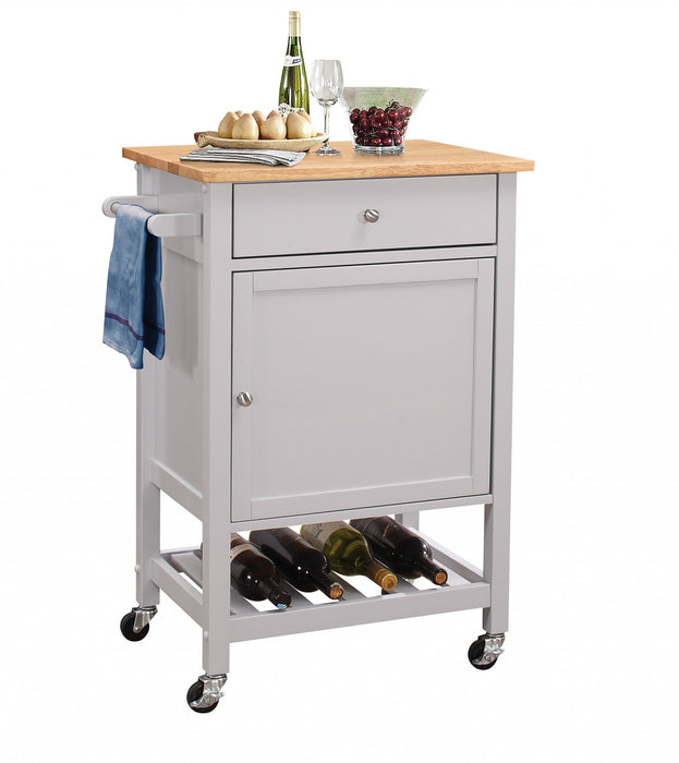"HomeRoots Office 25"" X 17"" X 34"" Natural And Gray Rubber Wood Kitchen Cart"