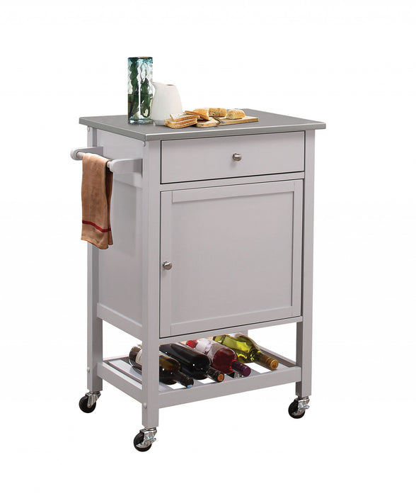 "HomeRoots Office 25"" X 17"" X 34"" Stainless Steel And Gray Kitchen Cart"