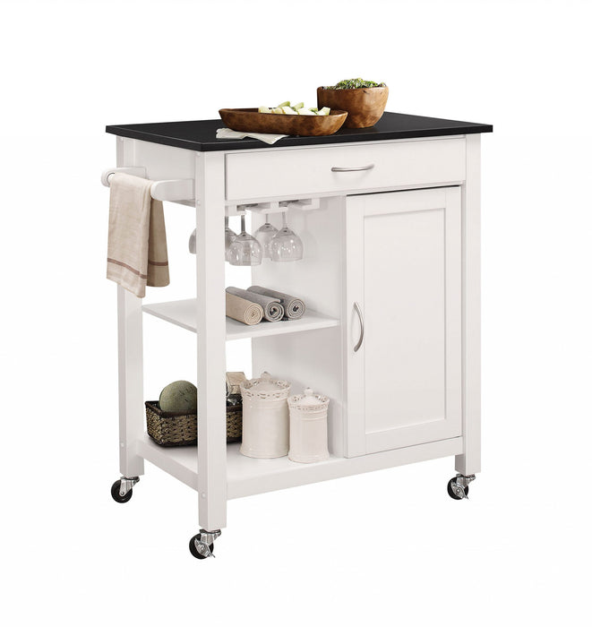 "HomeRoots Office 32"" X 19"" X 34"" Black And White Rubber Wood Kitchen Cart"