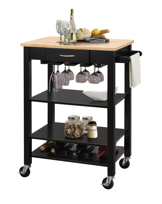 "HomeRoots Office 26"" X 18"" X 36"" Natural And Black Kitchen Cart"