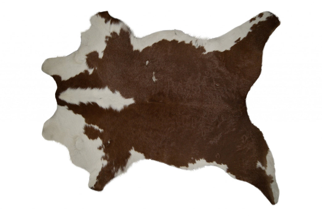 "HomeRoots 24"" x 36"" Brown And White Calfskin - Area Rug"