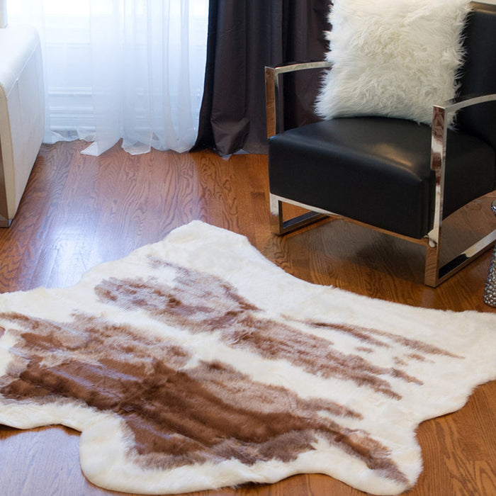 "HomeRoots 51"" x 60"" Brown & White, Faux Hide - Area Rug"