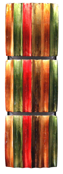 "HomeRoots 8"" X 2'.75"" X 24'.5"" Green, Red, Copper And Brown Metal Vertical 3-Panel Metal Wall Decor"