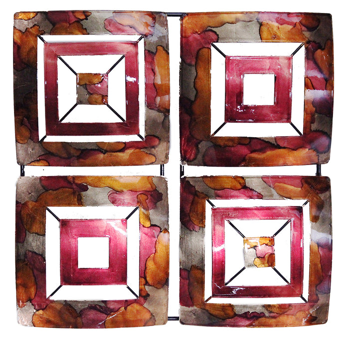 "HomeRoots 16"" X 2'.75"" X 16"" Burgundy, Copper And Brown Metal 4-Panel Square Wall Decor"