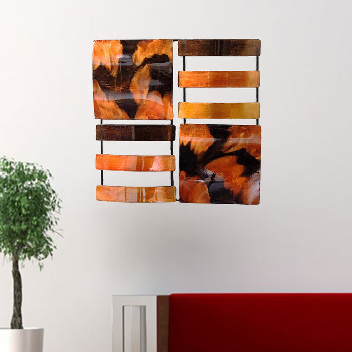 "HomeRoots 16"" X 2'.5"" X 16"" Copper, Brown And Orange Metal 4-Panel Square Metal Wall Decor"