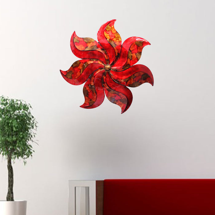 "HomeRoots 29"" X 2"" X 29"" Copper, Red And Gold Metal Large Flower Wall Décor"