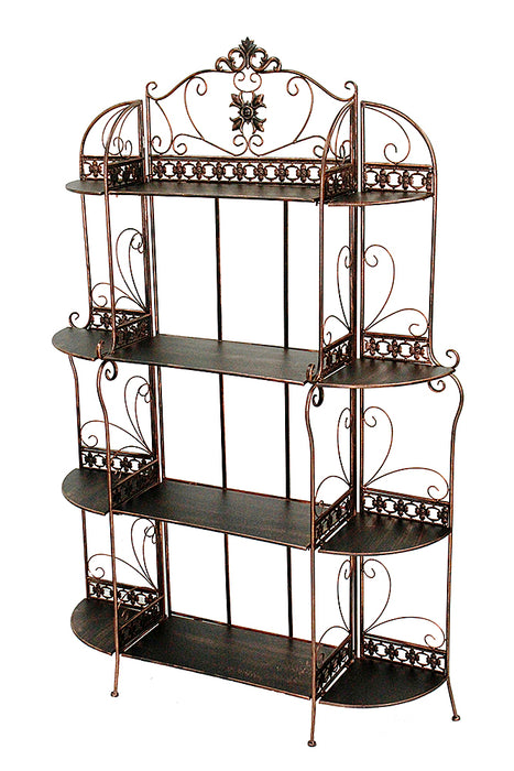 "HomeRoots Office 42"" X 11"" X 67"" Blackened Copper Steel Standard  Shelf Bakers Rack"