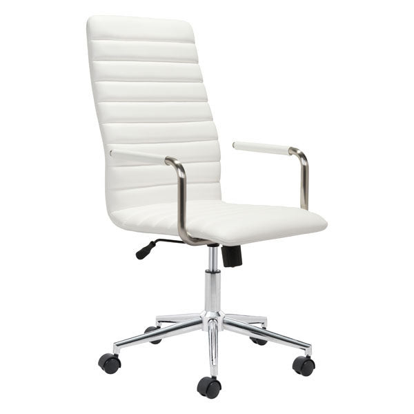 "HomeRoots Office 21.7"" X 25.6"" X 44.3"" White Office Chair"