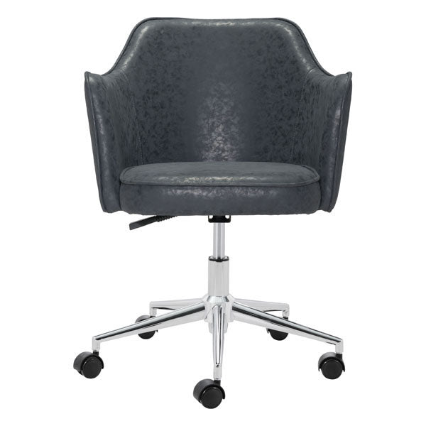 "HomeRoots Office 24.4"" X 25.2"" X 33.9"" Black Vintage Office Chair"