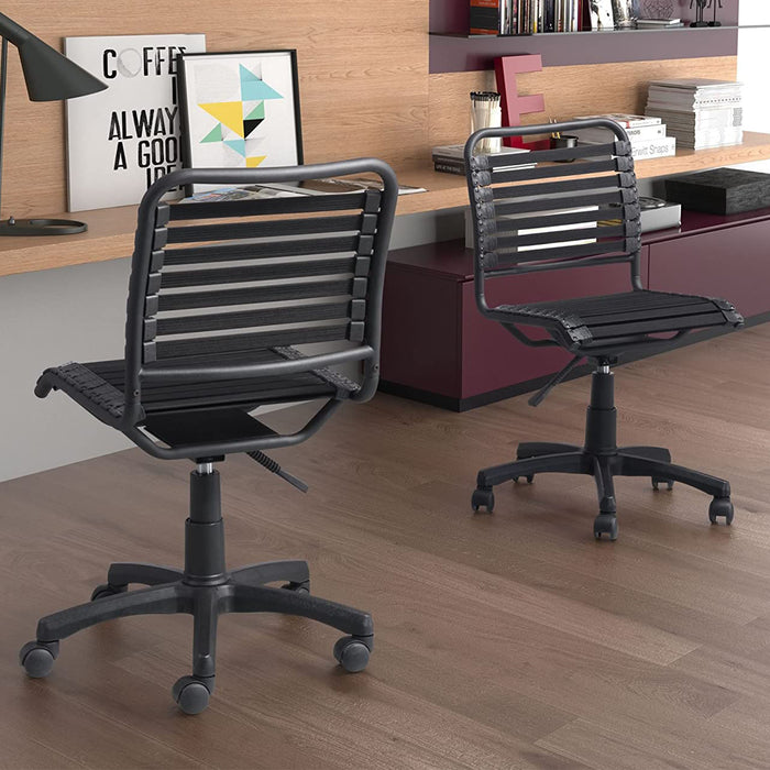 "HomeRoots Office 22.8"" X 22.8"" Black Rubber Core Cord Office Chair"