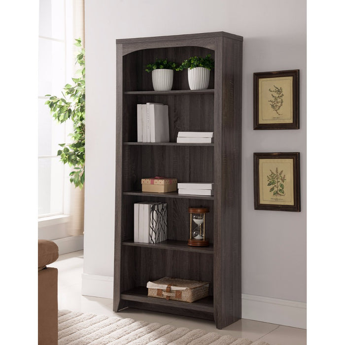 HomeRoots Office Elegantly Designed 5-Tier Bookcase, Gray
