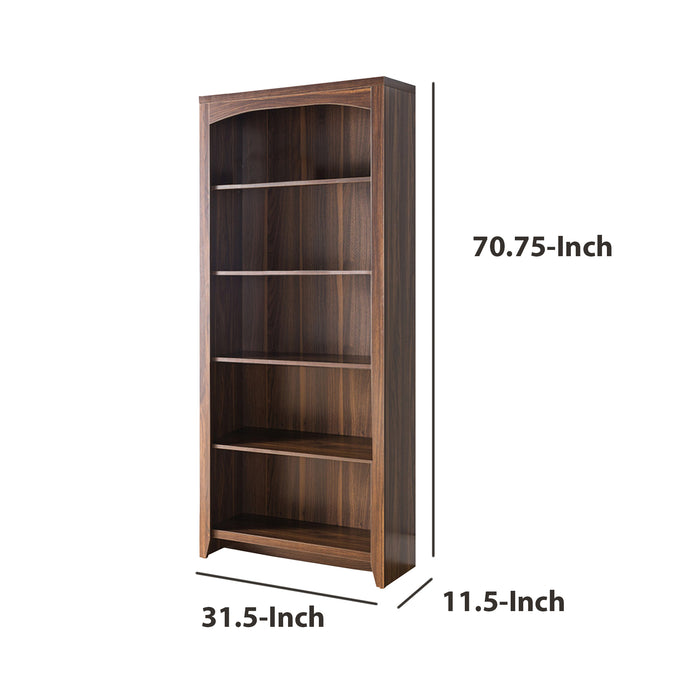 HomeRoots Office Prepossessing 5-Tier Bookcase, Brown