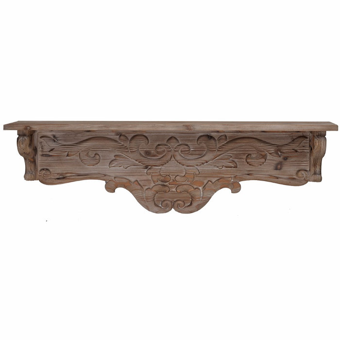 HomeRoots Office Decorative Wall Shelf With Swirl Design