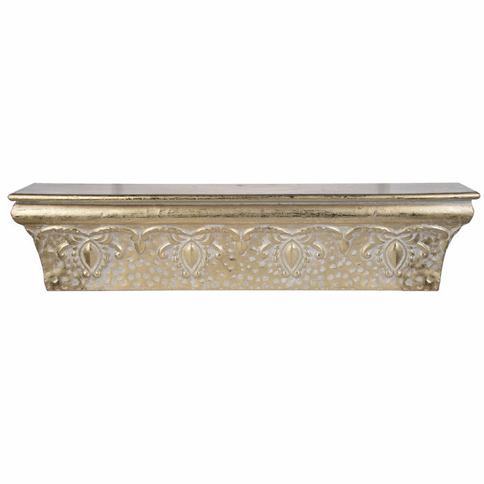HomeRoots Office Enchanting Wall Shelf, Gold Luster
