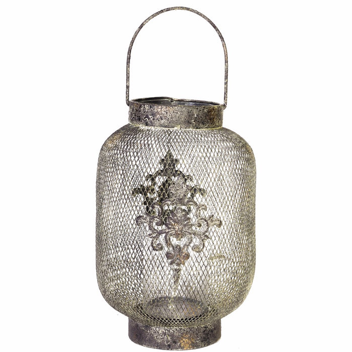 HomeRoots Mesh Netted Golden Hanging Candle Lantern