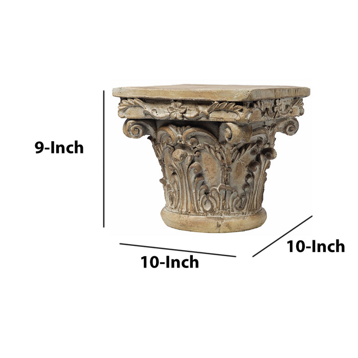 HomeRoots Office Aesthetic Resin Decorative Pedestal, Brown