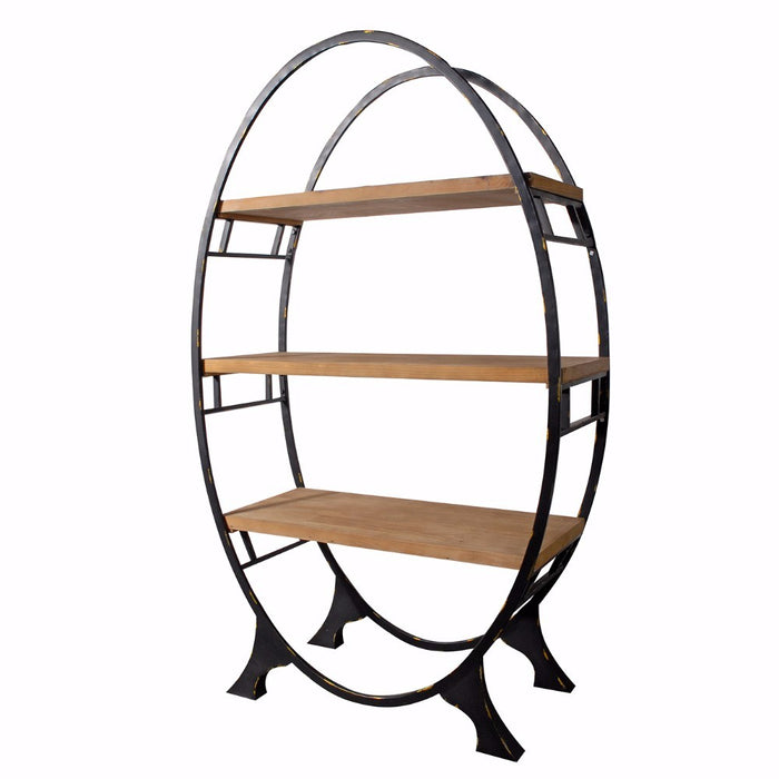 HomeRoots Office Oval shaped Bookshelf, Black and Brown