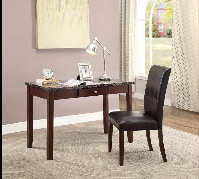 HomeRoots Office Desk & Chair, Black Faux Marble, 2 Piece Pack