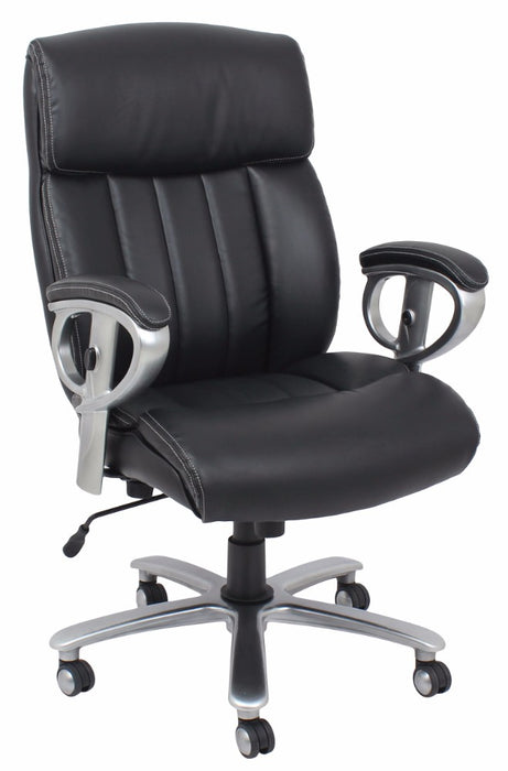 HomeRoots Office Office Chair with Pneumatic Lift, Black Bonded Leather Match