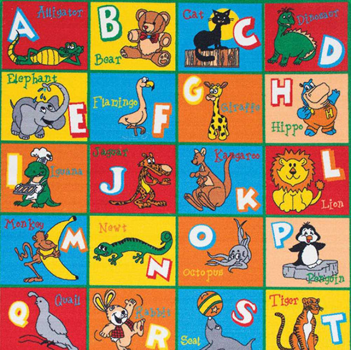 HomeRoots Contemporary Kids Area Rug Abc Animals With non Slipping Gel Back, Multicolor