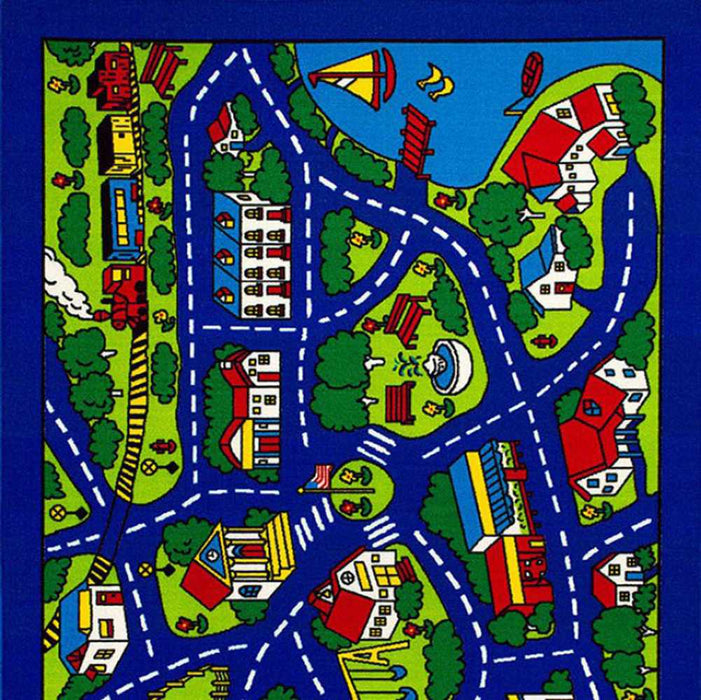 HomeRoots Contemporary Kids Area Rug Street Map Blue with non Slipping Gel Back
