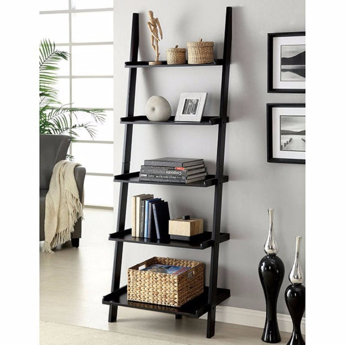 HomeRoots Office Contemporary Ladder Shelf, Black Finish