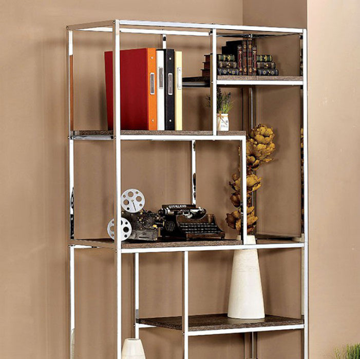 HomeRoots Office Contemporary Display Shelf, Chrome Finish