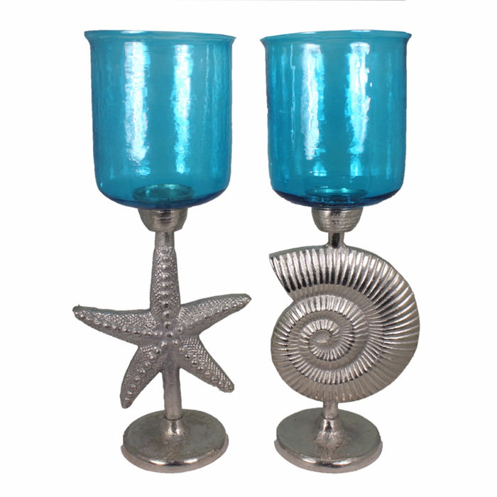 HomeRoots 2 Piece Hammered Glass Candle Holder On Shell And Starfish Stand, Blue And Silver